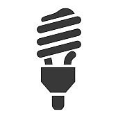 Fluorescent lamp bold black silhouette icon isolated on white. Energy saving bulb pictogram.