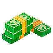 Wads of money. Banknotes piles. Dollars heap. Financial savings, bank deposit, pension, winnings.