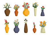 Flowers in vases, arrangements decorations for home, office