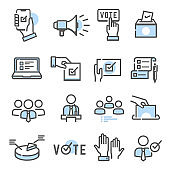 Voting and election set of thin line icons isolated on white. Politician, electorate outline blue pictograms.