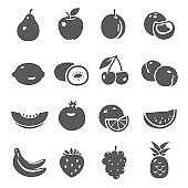 Fruits, berries black silhouette bold icons set isolated on white. Pear, apple, plum, peach pictograms.