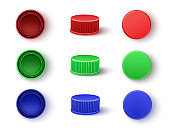 Caps in red, blue, green colors for plastic bottles or carton boxes realistic mockups set.