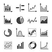 Graphs, charts and diagrams glyph icons set