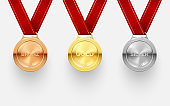 Award medal set, trophy and achievement honor