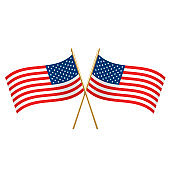 American crossed flags waving left and right with gold wand. Patriotic national symbol of USA.
