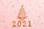 new year greeting card fir tree ornament pink