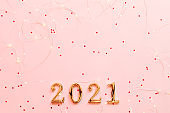 new year greeting card golden numbers star pink