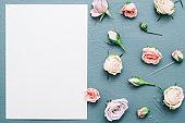 greeting card mockup pink rose buds decor gray