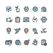 Approve Related Sign Color Thin Line Icon Set. Vector
