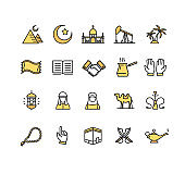 Arab Islamic Sign Color Thin Line Icon Set. Vector