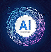 Artificial Intelligence Card Poster Background on a Dark Blue. Vector