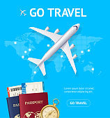 Realistic 3d Detailed Airplane and Go Travel Concept Card. Vector