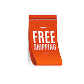 Realistic Detailed 3d Free Shipping Label. Vector