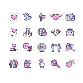 Friendship Dating and Love Color Thin Line Icon Set. Vector