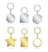 Realistic Detailed 3d Empty Template Shiny Golden and Silver Metal Keychains Set. Vector
