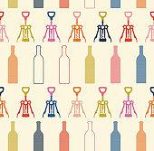 Vector seamless pattern with bottles and bottle opener. Wine list or menu design. Wine shop logo. Restaurant, cafe or bar seamless illustration.
