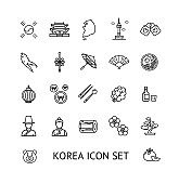Korea Sign Black Thin Line Icon Set. Vector