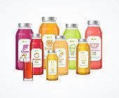 Realistic Detailed 3d Juice Bottle Set. Vector