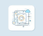 Heart target line icon. Love emotion sign. Vector