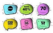 Save 40 percent off. Sale Discount offer price sign. Vector
