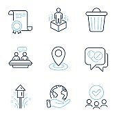 Location, Fireworks and Medical drugs icons set. Employees talk, Trash bin and Augmented reality signs. Vector