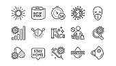 Coronavirus line icons set. Medical protective mask, hands sanitizer, no vaccine. Covid-19 pandemic. Vector