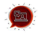 Friends chat line icon. Friendship love sign. Assistance business. Vector