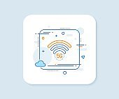 5g wi-fi technology line icon. Wifi wireless network sign. Vector