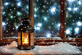 Christmas time composition with frost window