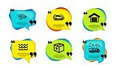 Package, Airplane and Waves icons set. Car, Parking garage and Truck delivery signs. Vector