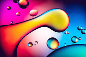 Abstract colourful oil bubbles in water