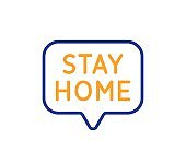 Stay home line icon. Coronavirus pandemic quarantine sign. Vector