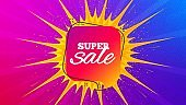 Super sale badge. Discount banner shape. Vector