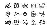 Coronavirus icons set. Medical mask, washing hands, protective glasses. Covid-19 pandemic. Vector