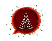 Christmas tree present line icon. New year spruce sign. Vector