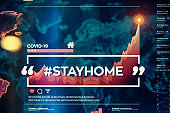 #stayhome. Stay home hashtag close-up on digital display
