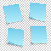Collection of different blue sheets. papers note with curled corner isolated on transperent background. Vector illustration