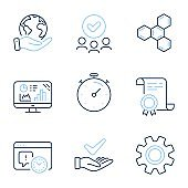 Timer, Chemical formula and Service icons set. Vector