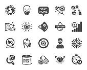 Coronavirus icons. Medical protective mask, hands sanitizer, no vaccine. Covid-19 pandemic. Vector