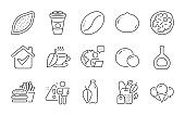Cognac bottle, Walnut and Macadamia nut icons set. Mint bag, Takeaway coffee and Coffee beans signs. Vector