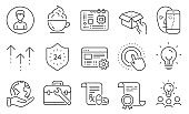 Set of Business icons, such as Swipe up, Face biometrics, 24 hours. Vector