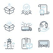 Parcel checklist, Open box and Truck delivery icons set. Lighthouse, Parking garage and Send box signs. Vector