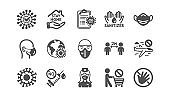Coronavirus icons set. Medical mask, protective glasses, washing hands. Covid-19 pandemic. Vector