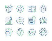 Business icons set. Included icon as Development plan, Dirty water, Smile chat signs. Vector