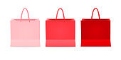 Realistic set of paper shopping bags packaging, for Shopping goods and products transportation shoppings from shop or grocery. Vector illustration isolated on white background