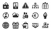 Gift box, Wallet and Crane claw machine icons set. Globe, Communication and Human resources signs. Vector