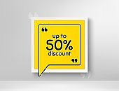 Up to 50% Discount. Sale offer price sign. Vector