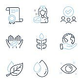 Nurse, Gluten free and Leaf icons set. Health eye, Oil drop and Fair trade signs. Vector