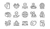 Insurance line icons set. Health care, risk, help service. Vector
