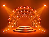 Podium with lighting. Stage, Podium, Scene for Award Ceremony. Vector illustration